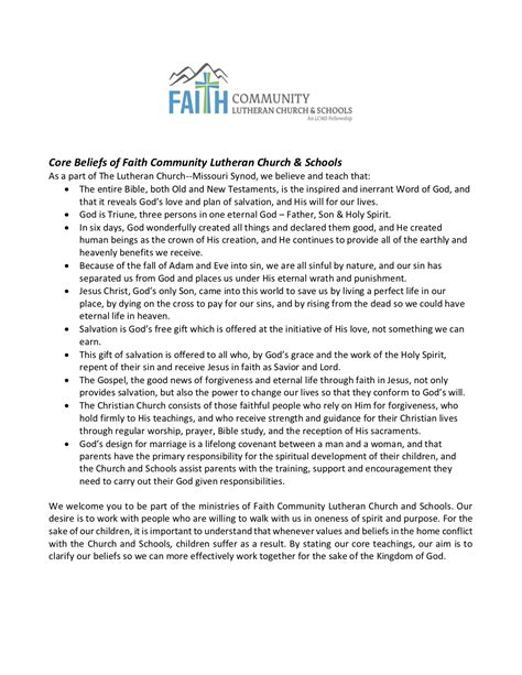 Statement of Faith - Faith Lutheran Academy