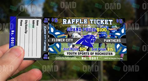 youth football raffle ticket sports invites