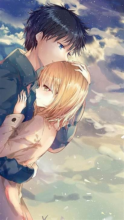 Anime Couple Hug Romance Iphone Wallpapers Scenic