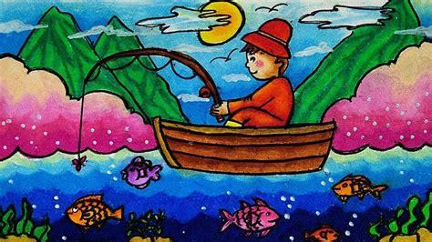 gambar animasi nelayan menangkap ikan