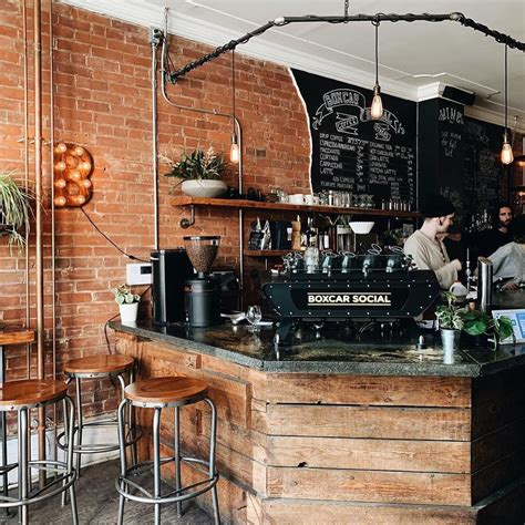 Boxcar roasts all its coffee right in the back of the shop, so every cup sold is guaranteed fresh and fabulous! Boxcar Social Summerhill in 2020   Coffee shop interior design, Rustic coffee shop, Coffee bar ...