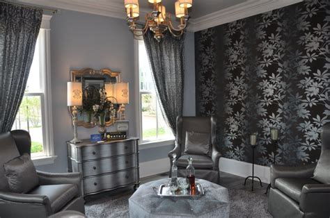 Black And Silver Living Room Decor With Unique Wall Art