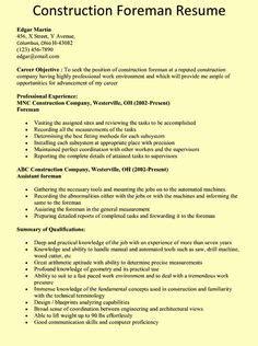 construction foreman resume sle the world s catalog of ideas