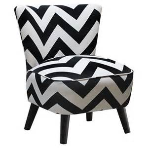 accent chair with black and white chevron upholstery and