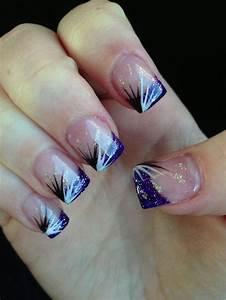 valentine Glitter Acrylic Nail Designs | Purple glitter ...