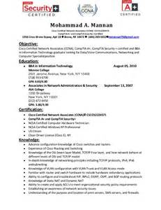Resume Format For Ccna Certified Freshers by Resume Of Mohammad Mannan