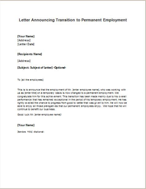 permanent employment announcement letter writelettercom