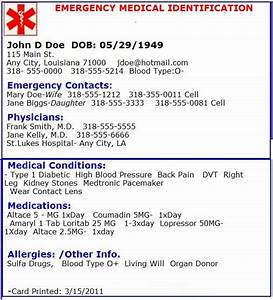 medical information card template