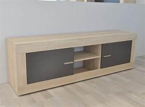 Meuble Chene Gris : meuble tv 2 portes aura chene samoa gris mat ~ Teatrodelosmanantiales.com Idées de Décoration