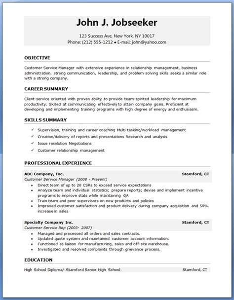Resume Template Free Resume Sles Sle Resumes