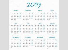 간단한 2019 년 달력 — 스톡 벡터 © 123sasha #127033942