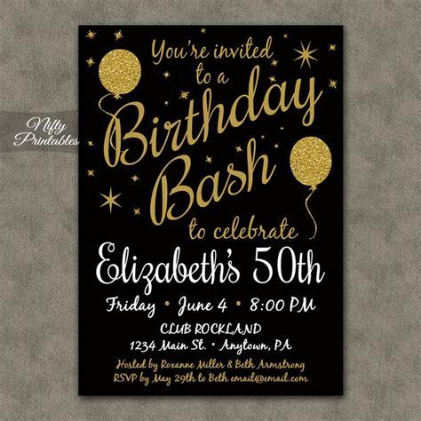 birthday invitation printable  black gold glitter