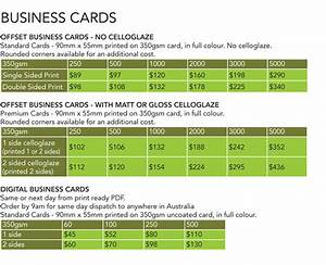 Printing prices price list ona print graphics for Business card price