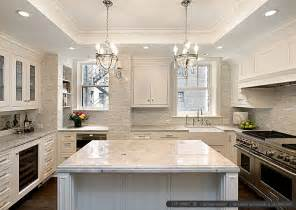 backsplash pictures for kitchens white kitchen with calacatta gold backsplash tile backsplash