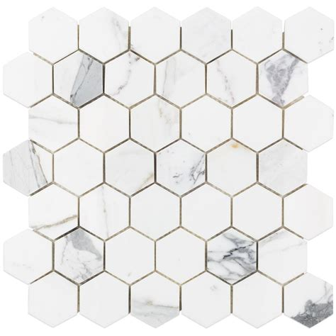 marble hexagon tile splashback tile hexagon calacatta marble mosaic 3 in x