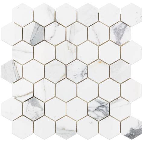 marble hex tile splashback tile hexagon calacatta marble mosaic 3 in x 6 in x 10 mm tile sle cal2inhexsmp