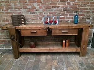 Etabli D Atelier : grand tabli industriel d 39 atelier en bois vernis compos ~ Edinachiropracticcenter.com Idées de Décoration