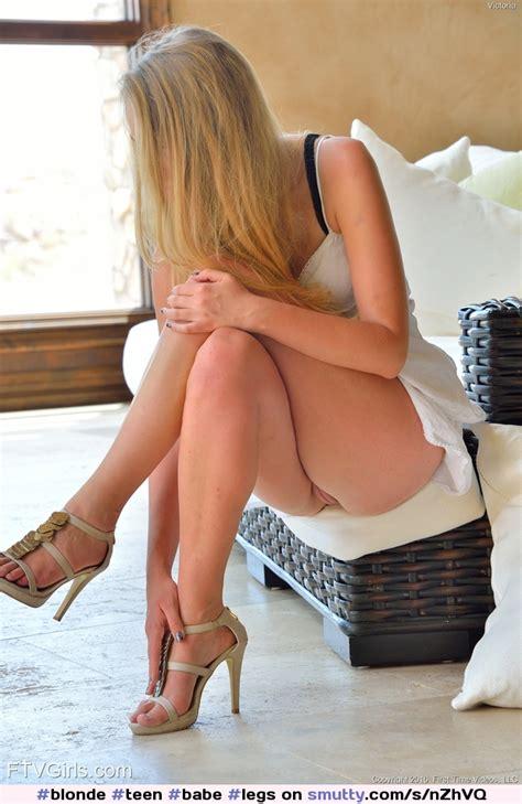 Blonde Teen Babe Legs Pussy Legscrossed Feet Heels