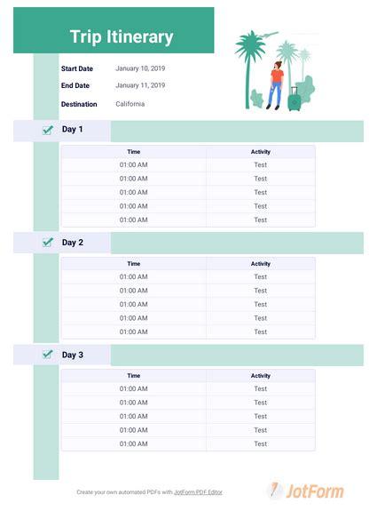 trip itinerary template  templates jotform