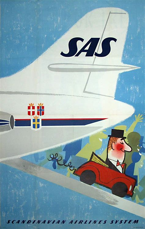 original vintage poster sas fly hire  sale