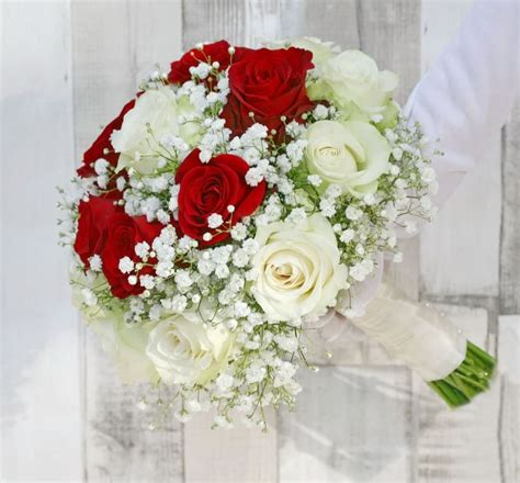 White And Red Roses Bridal Bouquet By Vip Floral Designs