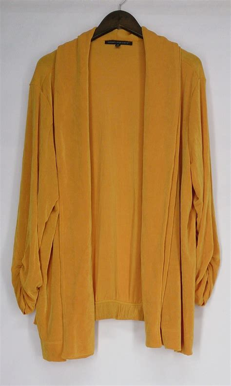 yellow cardigan sweater affinity for knits sz 3x ruched sleeve cardigan gold