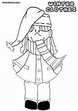 Scarf Coloring Pages Winter Cartoon Clipart Collection Clothing Library sketch template