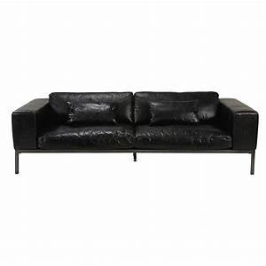 canape 4 places en cuir de vachette noir vieilli With canapé en cuir 4 places