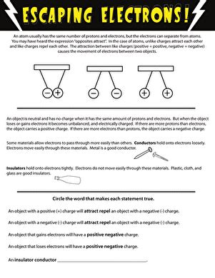 electrons and electricity worksheet education com
