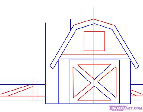 How To Draw A Barn by How To Draw A Barn Step By Step Buildings Landmarks