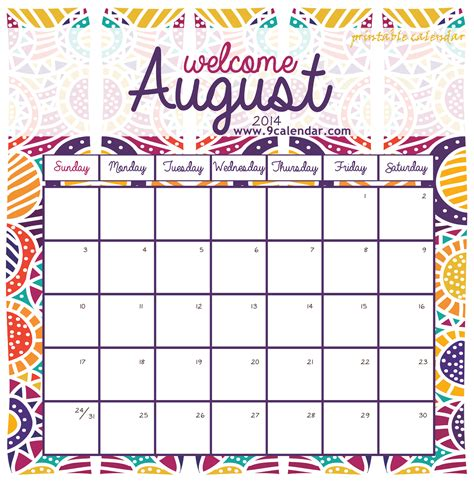 august calendar template free printable calendar free printable calendar august