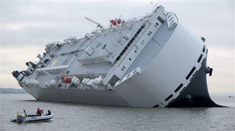 drone captures tilting ship  england coast abc news