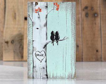 wedding gift  couple rustic love bird wood wall decor