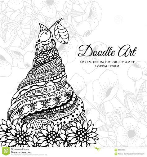 vector illustration zen tangle ice cream  ornament