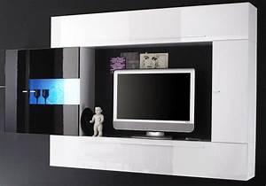 Meuble Tv Noir Laqué : meuble tv laqu noir et blanc id es de d coration ~ Nature-et-papiers.com Idées de Décoration
