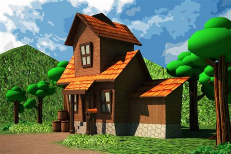 3d Asset Cartoon House Low-poly
