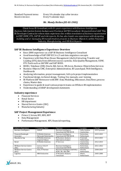 Business Objects Reporting Resume by Business Intelligence Specialist Sap Bw Bi Business Intelligence Busi
