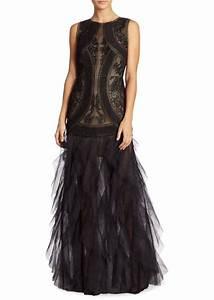 bcbg max azria bcbgmaxazria v back lace tulle gown With bcbg max azria robe