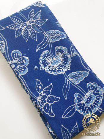 jual kain batik tulis warna alam floral latar biru