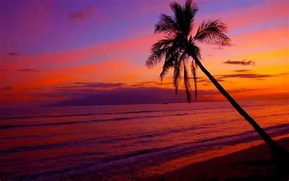 Hawaii Sunset Hawaiian Desktop Wallpapers Beach Na