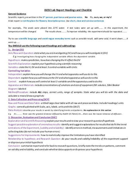 igcse lab report headings  checklist guidance