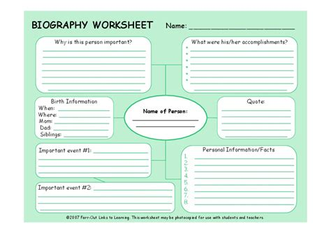 biography worksheet graphic organizer    grade