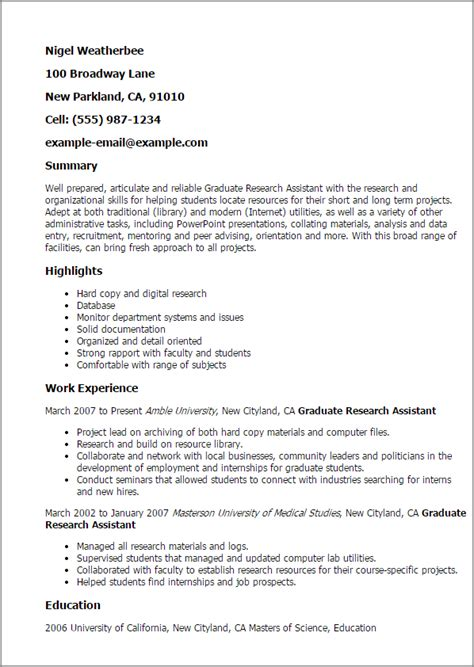 Research Assistant Resume by Professional Graduate Research Assistant Templates To