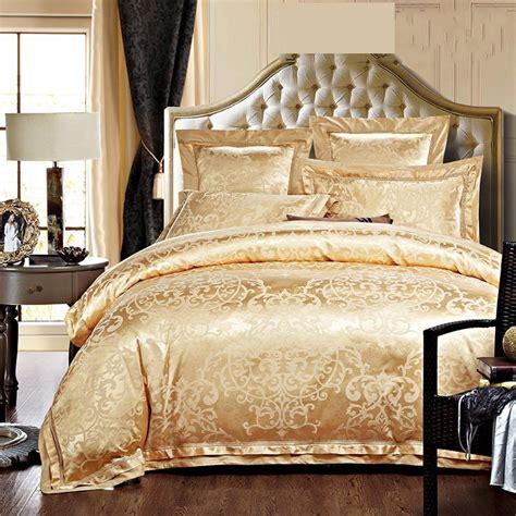 goldwhiteblue jacquard silk bedding set luxury pcs