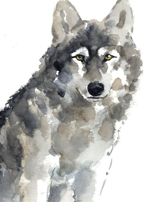 Wolf Watercolor Painting Animal