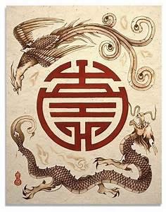 Dragon and Phoenix Shou Symbol Asian Art Print | Phoenix ...