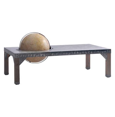 industrial metal coffee table elliot industrial loft metal inset globe coffee table