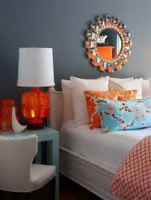 Orange and Turquoise Bedroom
