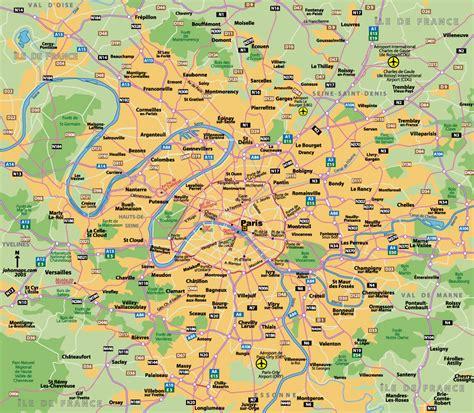 detailed road map  paris city region vidianicom