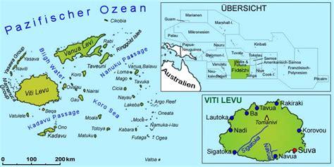 Landkarten: Australien/Südsee: Landkarte - Fidschi Inseln ...